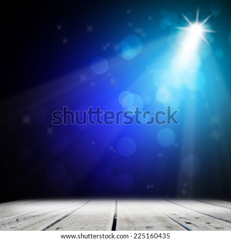 Blue light on wood stage background