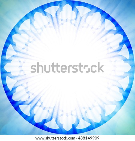 Blue Light Tones Stained Glass Church Rosette Or Rosetta Round Gothic Window Halo Textured With