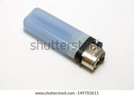 Blue Lighter isolate on a white background.