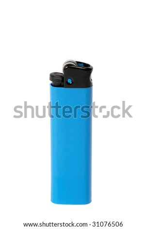 Blue lighter isolated on white