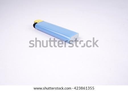 Blue lighter isolated on white background. Blue lighter  - stock photo