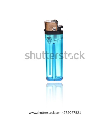 Blue lighter on a white background - stock photo