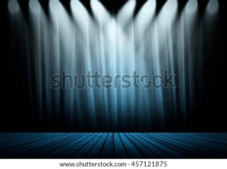 blue lighting with wood plank stage  - stock photo