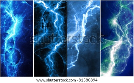 Blue lightning banners - stock photo