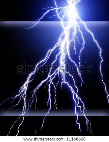 Blue lightning flash on black sky - stock photo