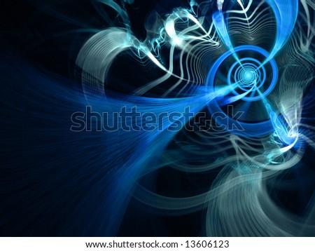 Blue Lightning Network - fractal illustration - stock photo
