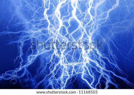 Blue lightning on a black background - stock photo