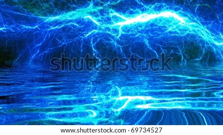 blue lightning reflected in water - stock photo