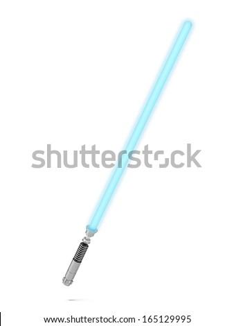 Blue lightsaber - stock photo