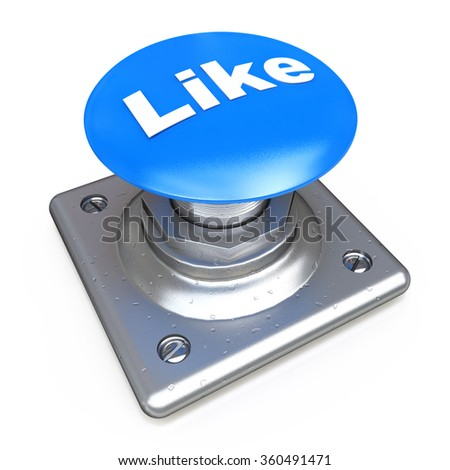 Blue LIKE button in the design of information related to social media - stock photo