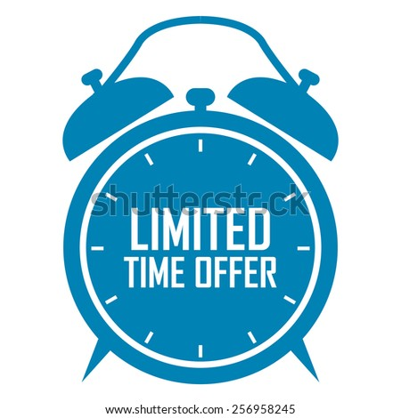 blue limited time offer on alarm clock sticker, badge, icon, stamp, label, banner, sign isolated on white - stock photo