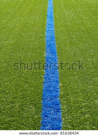 Blue line on the grass of the Football Field