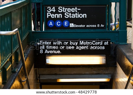 Blue line station of New York subway on 34th street, NYC - stock photo