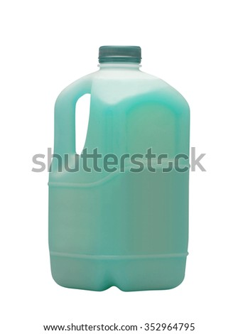 Blue liquid for car in canister isolated on white - stock photo