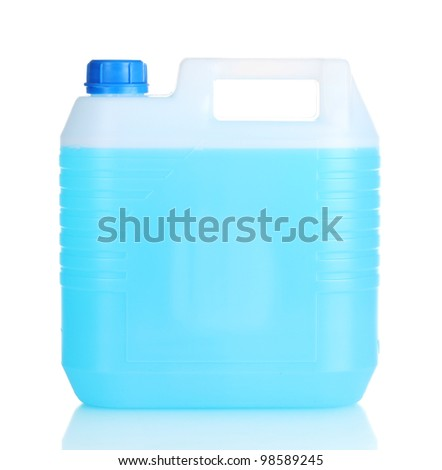 blue liquid in the canister isolated on white - stock photo