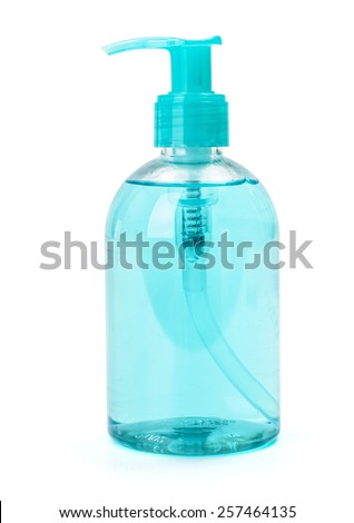 Blue liquid soap in plastic pump bottle
