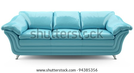 blue lither sofa - stock photo