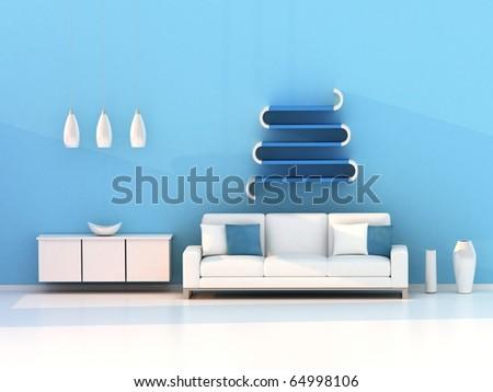 blue living room, modern room - stock photo