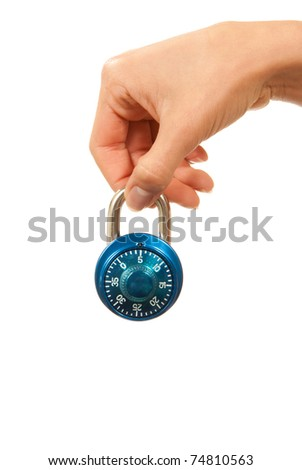 Blue locked Master Combination Dial lock in hand for security isolated on a white background - stock photo