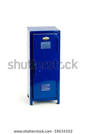 Blue Locker Isolated on a White Background - stock photo