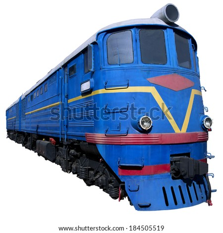 blue locomotive in perspective for design - stock photo