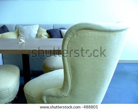 blue lounge interior - stock photo