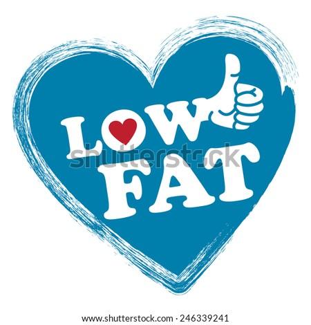 Blue Low Fat Heart Shape Sticker Stock Illustration 246339241