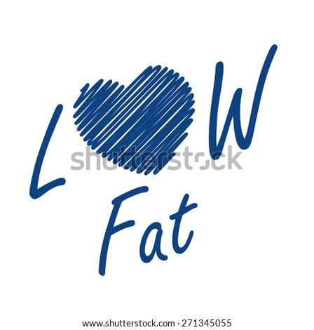 Blue Low Fat Label, Banner, Sign or Icon Isolated on White Background - stock photo