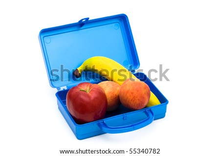 Blue lunch box full of fruits, A healthy lunch