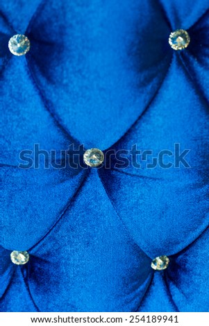Blue luxurious fabric sofa and texture for background - stock photo