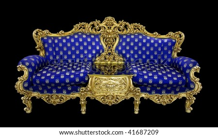 Blue luxurious sofa with gold decoration (clipping path) - stock photo