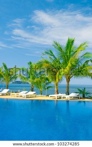 Blue Luxury Holiday Lifestyle - stock photo