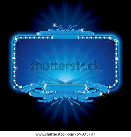 Blue luxury neon sign illustration-for celebrating and entertainment text&design (id=57384514 vector version). - stock photo