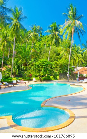 Blue Luxury Resort Relaxation - stock photo