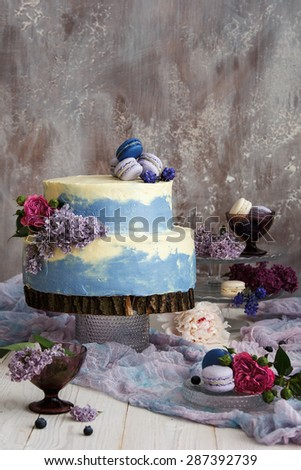 Blue macaroons wedding cake - stock photo