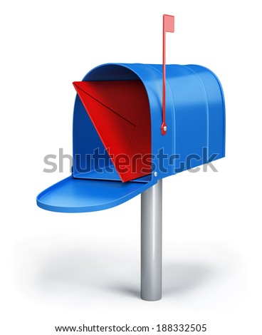 Blue mailbox with a letter. 3d image. White background. - stock photo