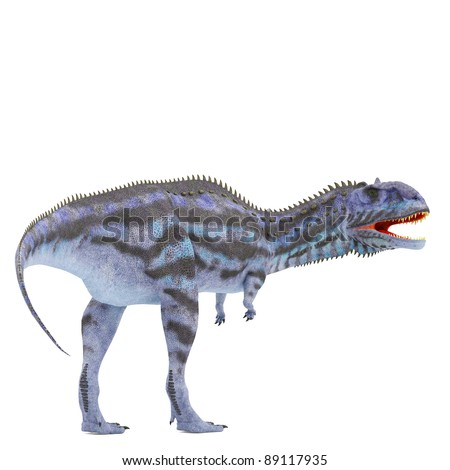 blue majungasaurus back side view - stock photo