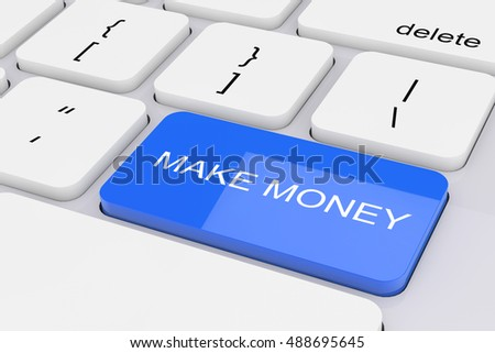 Blue Make Money Key on White PC Keyboard extreme closeup. 3d Rendering