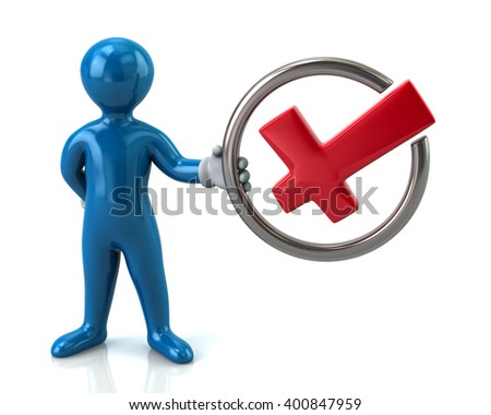 Blue man character holding check mark isolated on white background