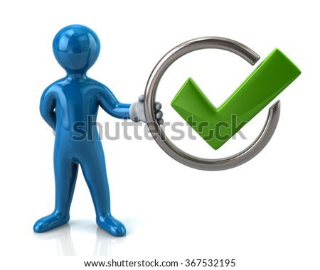 Blue man character holding tick sign isolated on white background - stock photo