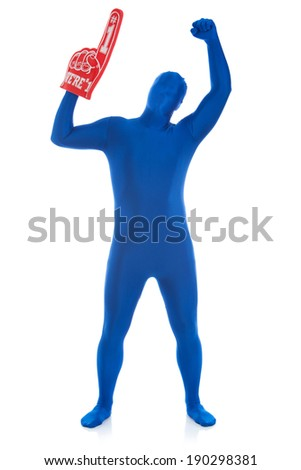 Blue: Man Cheers For Sports Team - stock photo