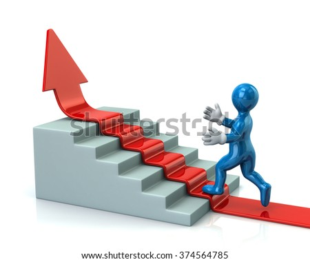 Blue man climbs up stairs on red arrow isolated on white background - stock photo