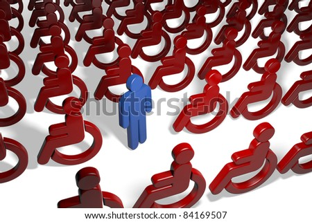 Blue man in a crowd of many wheelchair drivers - stock photo