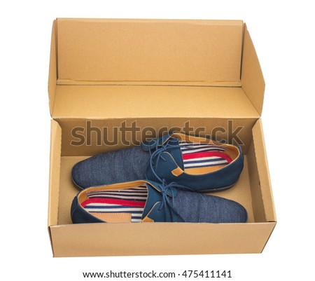 Blue man shoe with shoelace on the box from above. Isolated on white.