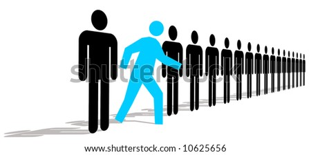 Blue Man Standing Out In A Line Of Black Men - stock photo
