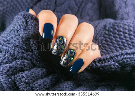 Blue manicure stamping - stock photo