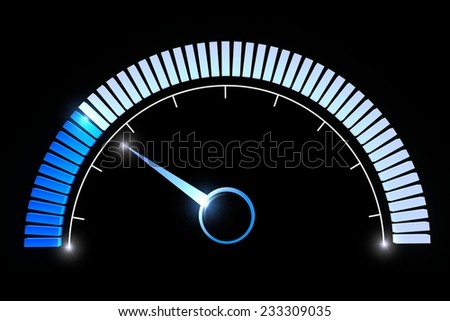 Blue manometer dial on black background. Pressure gauges temperature low speed performance  - stock photo
