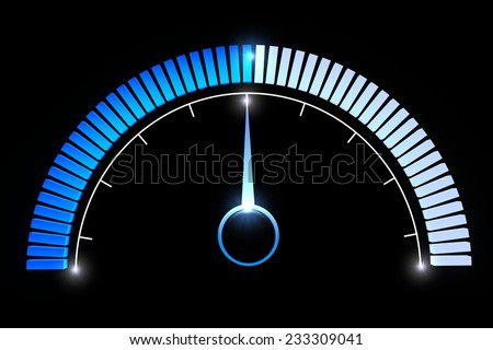 Blue manometer dial on black background. Pressure gauges temperature medium speed performance  - stock photo