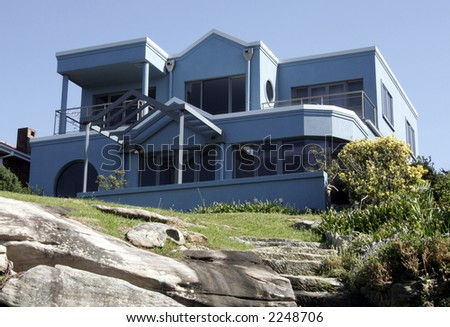 Blue Mansion, Villa With Clear Blue Sky Background, Sydney, Australia