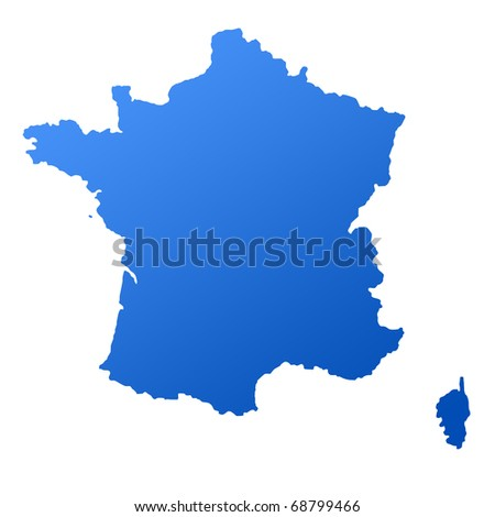Blue map of France, isolated on white background with clipping path. - stock photo